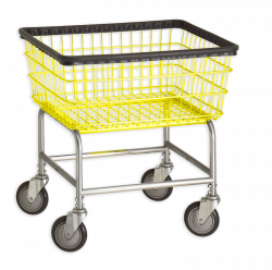 R&B Wire - R&B Wire #100E Standard Laundry Cart - Chrome Base, Yellow Basket