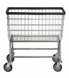 R&B Wire - R&B Wire #200F Large Capacity Laundry Cart - Chrome Base, Chrome Basket