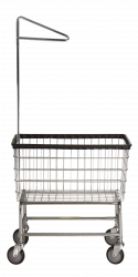R&B Wire - R&B Wire #200F91 Large Capacity Laundry Cart w/ Single Pole Rack - Chrome Base, Chrome Basket, Beige Rack