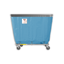 "R&B Wire - R&B Wire #412SOB 12 Bushel Permanent Liner Basket Truck with Bumper - Blue Liner, 4"" Casters, Diamond (2 Swivel & 2 Rigid)"