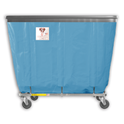 "R&B Wire - R&B Wire #420SOB 20 Bushel Permanent Liner Basket Truck with Bumper - Blue Liner, 4"" Casters, Diamond (2 Swivel & 2 Rigid)"