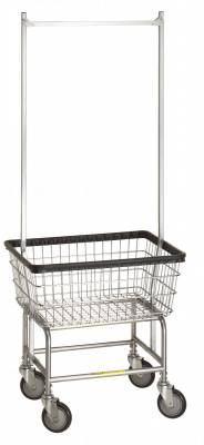 R&B Wire - R&B Wire #100E58 Standard Laundry Cart w/ Double Pole Rack - Chrome Base, White Basket, Gray Rack