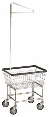 R&B Wire - R&B Wire #100E91 Standard Laundry Cart w/ Single Pole Rack - Gray Base, White Basket, Chrome Rack