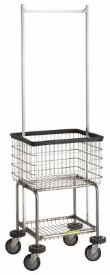 R&B Wire - R&B Wire #300G55 Deluxe Elevated Laundry Cart w/ Double Pole Rack - Almond Basket