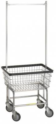 R&B Wire - R&B Wire #100D58 Narrow Laundry Cart w/ Double Pole Rack Chrome Base, Chrome Basket, Gray Rack - CartsPros