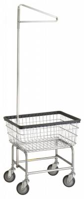 R&B Wire - R&B Wire #100D91 Narrow Laundry Cart w/ Single Pole Rack - Chrome Base, Almond Basket, Gray Rack