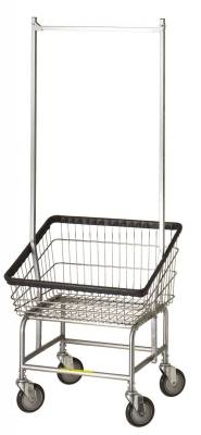 R&B Wire - R&B Wire #100T58 Front Load Laundry Cart w/ Double Pole Rack - Chrome Base, Chrome Basket, Gray Rack