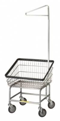 R&B Wire - R&B Wire #100T91 Front Load Laundry Cart w/Single Pole Rack - Chrome Base, Blue Basket, Chrome Rack