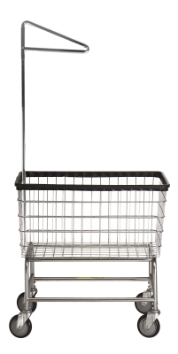 R&B Wire - R&B Wire #200F91 Large Capacity Laundry Cart w/ Single Pole Rack - Chrome Base, Chrome Basket, Chrome Rack