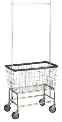"R&B Wire - R&B Wire #200H56 Large Capacity 6 Bu. ""Big Dog"" Laundry Cart w/ Double Pole Rack - Chrome Base, Blue Basket, Beige Rack"