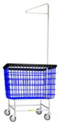 "R&B Wire - R&B Wire #200H91 Large Capacity 6 Bu. ""Big Dog"" Laundry Cart w/ Single Pole Rack - Beige Base, Blue Basket, Beige Rack"