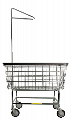 R&B Wire - R&B Wire #200S91 Large Capacity Front Load Laundry Cart w/ Single Pole Rack - Beige Base, Chrome Basket, Chrome Rack