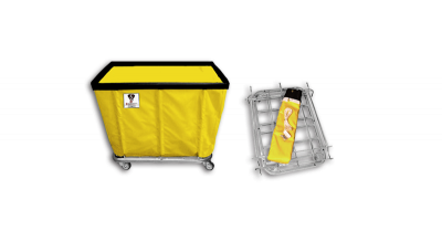 "R&B Wire - R&B Wire #406KD/ANTI 6 Bushel ""UPS/FEDEX-ABLE"" Truck (Anti-Microbial) - Yellow Liner, 3"" Casters, Corner (All Swivel)"