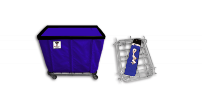 "R&B Wire - R&B Wire #408KD/ANTI 8 Bushel ""UPS/FEDEX-ABLE"" Truck (Anti-Microbial) - Navy Liner, 4"" Casters, Corner (2 Swivel & 2 Rigid)"