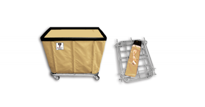 "R&B Wire - R&B Wire #406KD 6 Bushel ""UPS/FEDEX-ABLE"" Truck - Beige Liner, 4"" Casters, Corner (All Swivel)"