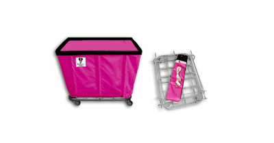 "R&B Wire - R&B Wire #406KD 6 Bushel ""UPS/FEDEX-ABLE"" Truck - Hot Pink Liner, 4"" Casters, Corner (2 Swivel & 2 Rigid)"