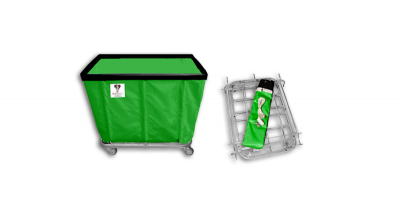 "R&B Wire - R&B Wire #406KD 6 Bushel ""UPS/FEDEX-ABLE"" Truck - Jelly Bean Green Liner, 3"" Casters, Corner (2 Swivel & 2 Rigid)"
