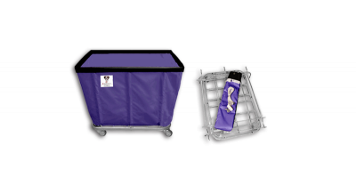 "R&B Wire - R&B Wire #406KD 6 Bushel ""UPS/FEDEX-ABLE"" Truck - Punky Purple Liner, 4"" Casters, Corner (All Swivel)"