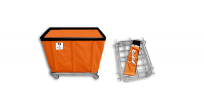 "R&B Wire - R&B Wire #406KD 6 Bushel ""UPS/FEDEX-ABLE"" Truck - Sunset Orange Liner, 4"" Casters, Diamond (2 Swivel & 2 Rigid)"