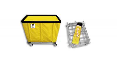 "R&B Wire - R&B Wire #408KD 8 Bushel ""UPS/FEDEX-ABLE"" Truck - Yellow Liner, 3"" Casters, Corner (2 Swivel & 2 Rigid)"