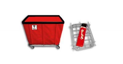 "R&B Wire - R&B Wire #408KD 8 Bushel ""UPS/FEDEX-ABLE"" Truck - Red Liner, 3"" Casters, Corner (2 Swivel & 2 Rigid)"
