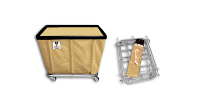 "R&B Wire - R&B Wire #408KD 8 Bushel ""UPS/FEDEX-ABLE"" Truck - Beige Liner, 4"" Casters, Corner (All Swivel)"