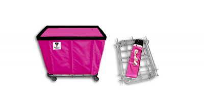 "R&B Wire - R&B Wire #408KD 8 Bushel ""UPS/FEDEX-ABLE"" Truck - Hot Pink Liner, 3"" Casters, Corner (2 Swivel & 2 Rigid)"