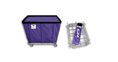 "R&B Wire - R&B Wire #408KD 8 Bushel ""UPS/FEDEX-ABLE"" Truck - Punky Purple Liner, 3"" Casters, Corner (All Swivel)"