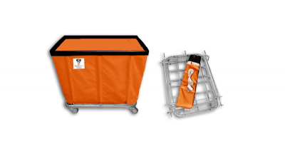 "R&B Wire - R&B Wire #408KD 8 Bushel ""UPS/FEDEX-ABLE"" Truck - Sunset Orange Liner, 4"" Casters, Diamond (2 Swivel & 2 Rigid)"