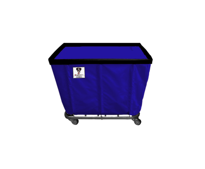 "R&B Wire - R&B Wire #406SO/ANTI 6 Bushel Permanent Liner Basket Truck (Anti-Microbial) - Navy Liner, 4"" Casters, Corner (All Swivel)"