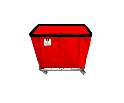 "R&B Wire - R&B Wire #406SO/ANTI 6 Bushel Permanent Liner Basket Truck (Anti-Microbial) - Red Liner, 3"" Casters, Corner (All Swivel)"
