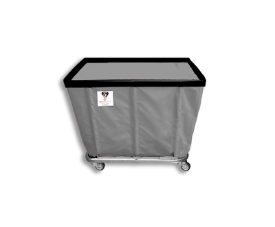"R&B Wire - R&B Wire #406SO/ANTI 6 Bushel Permanent Liner Basket Truck (Anti-Microbial) - Gray Liner, 4"" Casters, Corner (All Swivel)"