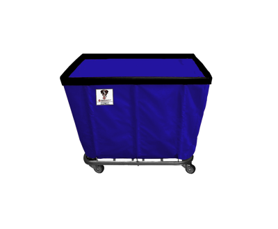"R&B Wire - R&B Wire #408SO/ANTI 8 Bushel Permanent Liner Basket Truck (Anti-Microbial) - Navy Liner, 4"" Casters, Corner (All Swivel)"