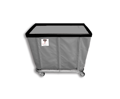 "R&B Wire - R&B Wire #408SO/ANTI 8 Bushel Permanent Liner Basket Truck (Anti-Microbial) - Gray Liner, 4"" Casters, Corner (All Swivel)"