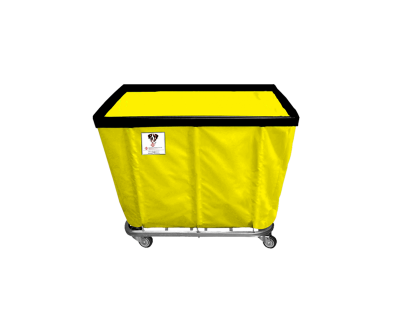 "R&B Wire - R&B Wire #406SO 6 Bushel Permanent Liner Basket Truck - Yellow Liner, 3"" Casters, Corner (All Swivel)"