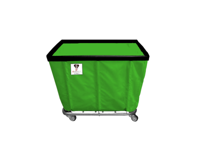 "R&B Wire - R&B Wire #406SO 6 Bushel Permanent Liner Basket Truck - Jelly Bean Green Liner, 3"" Casters, Corner (All Swivel)"