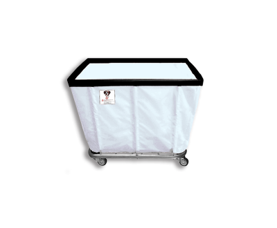 """R&B Wire - R&B Wire #406SO 6 Bushel Permanent Liner Basket Truck - Icy White Liner, 3"""" Casters, Corner (All Swivel)"""