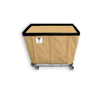 "R&B Wire - R&B Wire #406SO 6 Bushel Permanent Liner Basket Truck - Beige Liner, 4"" Casters, Corner (All Swivel)"