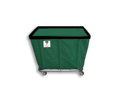 "R&B Wire - R&B Wire #406SO 6 Bushel Permanent Liner Basket Truck - Green Liner, 4"" Casters, Corner (All Swivel)"