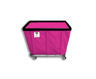 "R&B Wire - R&B Wire #406SO 6 Bushel Permanent Liner Basket Truck - Hot Pink Liner, 3"" Casters, Corner (2 Swivel & 2 Rigid)"