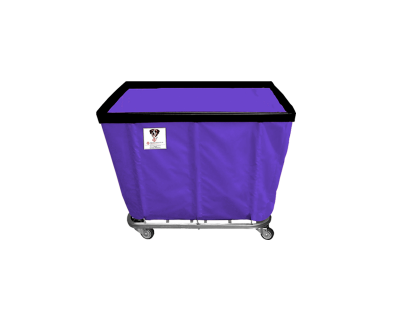 "R&B Wire - R&B Wire #406SO 6 Bushel Permanent Liner Basket Truck - Punky Purple Liner, 4"" Casters, Corner (2 Swivel & 2 Rigid)"