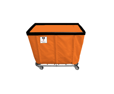 "R&B Wire - R&B Wire #406SO 6 Bushel Permanent Liner Basket Truck - Sunset Orange Liner, 4"" Casters, Diamond (2 Swivel & 2 Rigid)"