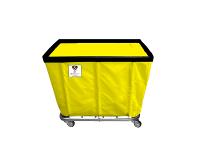 "R&B Wire - R&B Wire #408SO 8 Bushel Permanent Liner Basket Truck - Yellow Liner, 3"" Casters, Corner (All Swivel)"