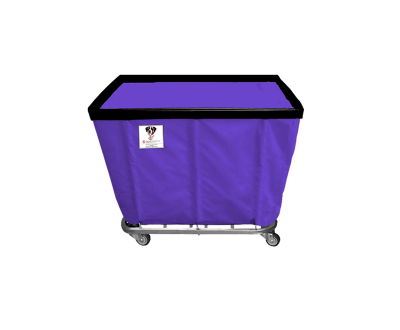 "R&B Wire - R&B Wire #408SO 8 Bushel Permanent Liner Basket Truck - Punky Purple Liner, 3"" Casters, Corner (All Swivel)"