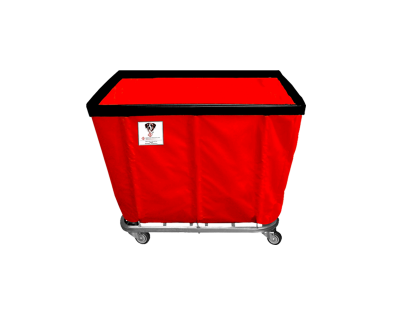 "R&B Wire - R&B Wire #408SO 8 Bushel Permanent Liner Basket Truck - Red Liner, 4"" Casters, Corner (All Swivel)"
