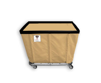 "R&B Wire - R&B Wire #408SO 8 Bushel Permanent Liner Basket Truck - Beige Liner, 4"" Casters, Corner (All Swivel)"