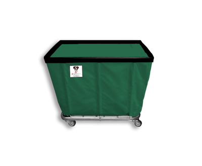 "R&B Wire - R&B Wire #408SO 8 Bushel Permanent Liner Basket Truck - Green Liner, 4"" Casters, Corner (All Swivel)"