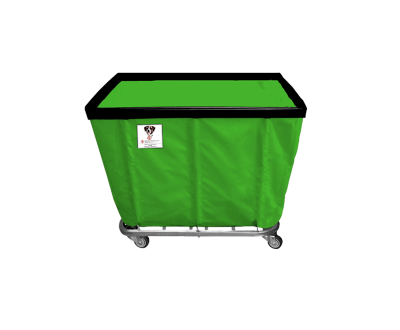 "R&B Wire - R&B Wire #408SO 8 Bushel Permanent Liner Basket Truck - Jelly Bean Green Liner, 4"" Casters, Corner (All Swivel)"