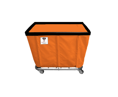 "R&B Wire - R&B Wire #408SO 8 Bushel Permanent Liner Basket Truck - Sunset Orange Liner, 4"" Casters, Corner (All Swivel)"