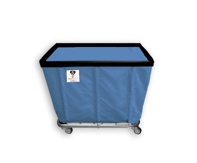 "R&B Wire - R&B Wire #408SO 8 Bushel Permanent Liner Basket Truck - Blue Liner, 3"" Casters, Corner (2 Swivel & 2 Rigid)"
